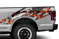 Ford F150 Printed Torn Half Bed Graphic Kit Truck Decal 2015-2018